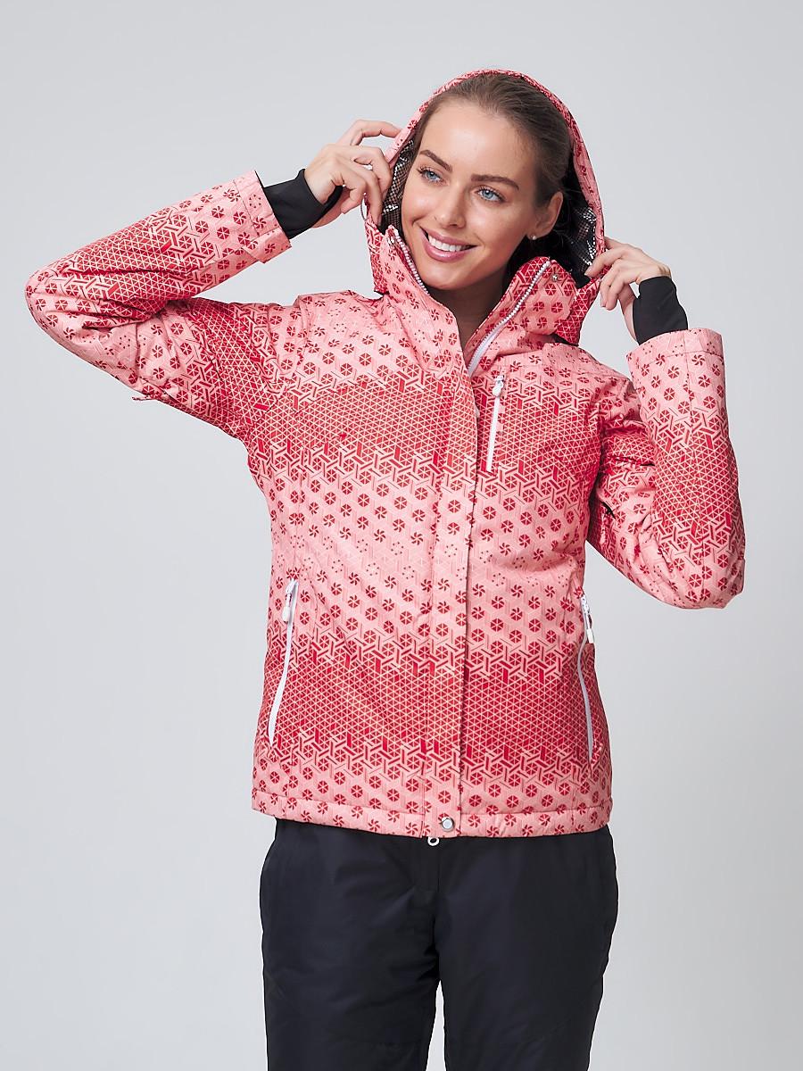 Купить оптом Куртка горнолыжная женская персикового цвета 1786P