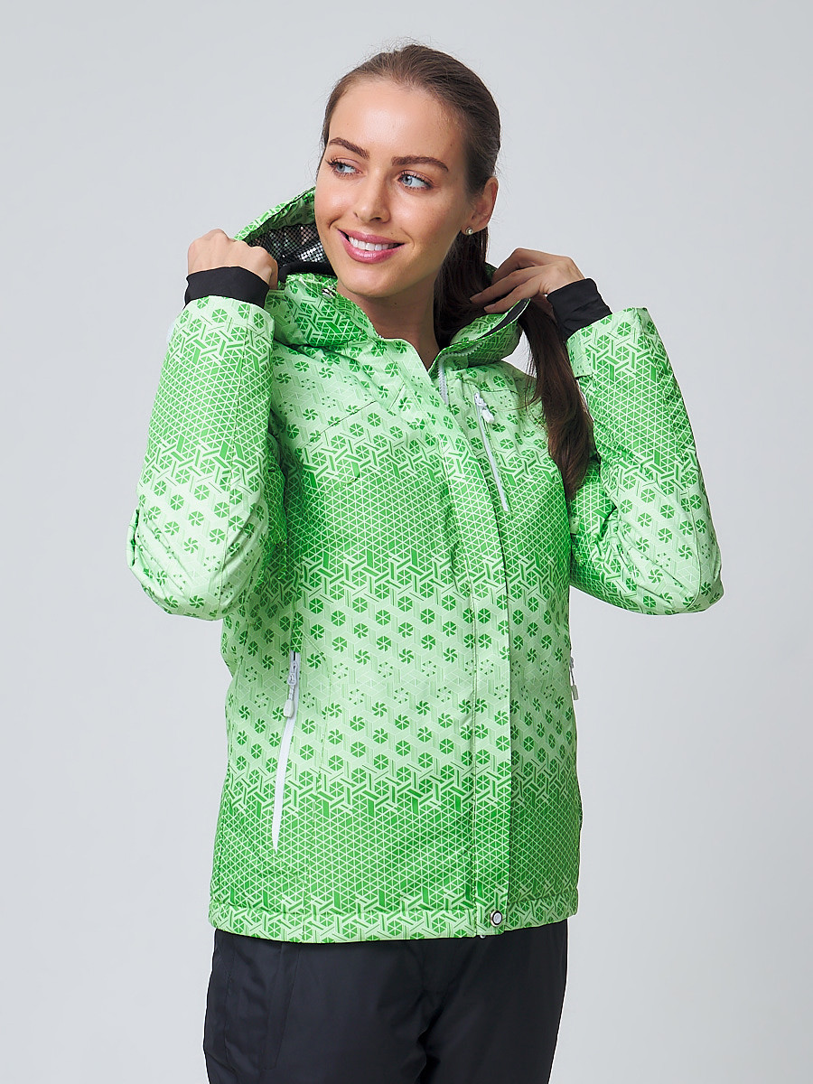 Купить оптом Куртка горнолыжная женская зеленого цвета 1786Z в Казани