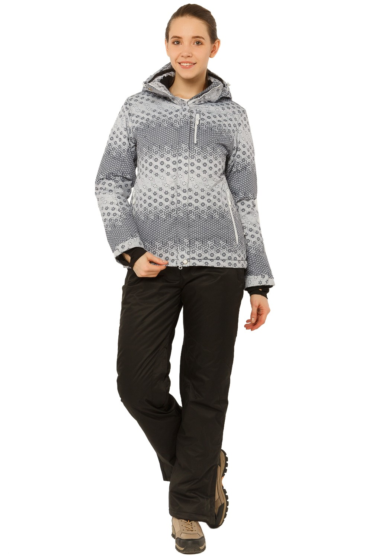 Купить оптом Костюм горнолыжный женский большого размера серого цвета 017881Sr