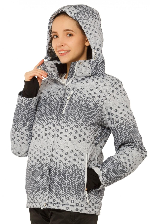 Купить оптом Куртка горнолыжная женская серого цвета 1786Sr в Казани
