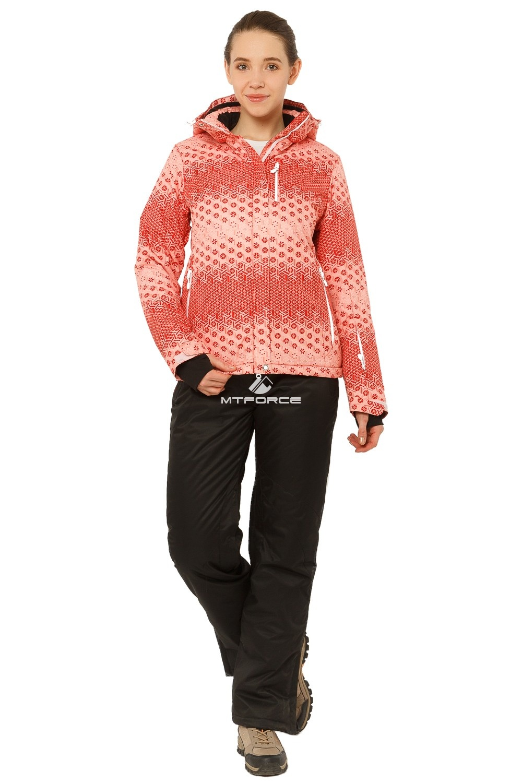 Купить оптом Костюм горнолыжный женский персикового цвета 01786P в Новосибирске