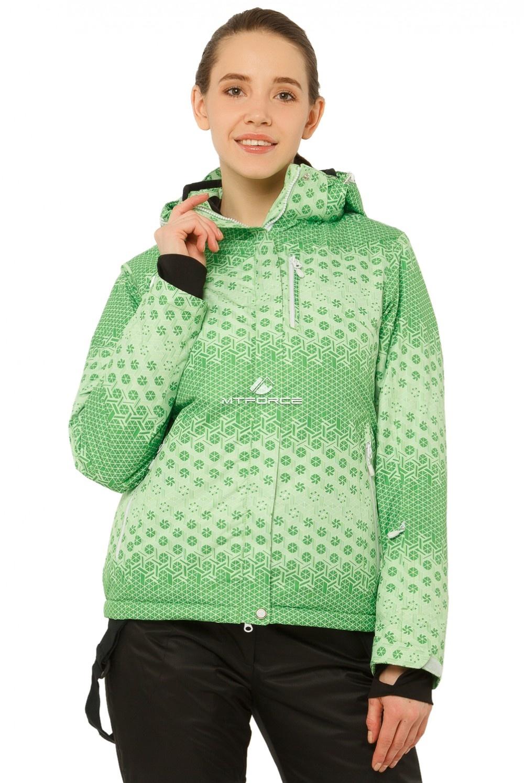 Купить оптом Куртка горнолыжная женская зеленого цвета 1786Z в Нижнем Новгороде
