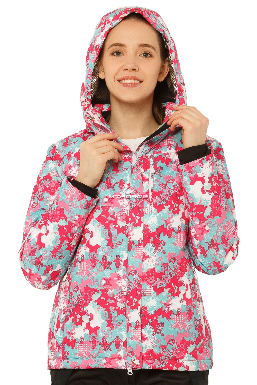 Купить оптом Костюм горнолыжный женский розового цвета 01787R в Уфе