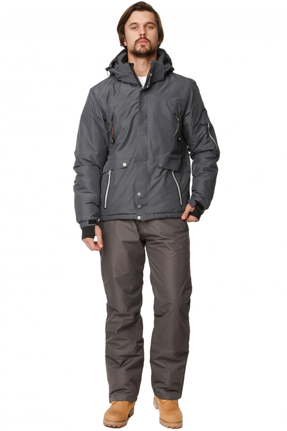 Купить оптом Костюм горнолыжный мужской темно-серого цвета 01788TC