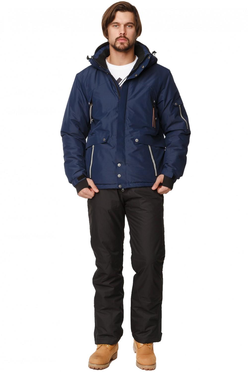 Купить оптом Костюм горнолыжный мужской темно-синего цвета 01788TS