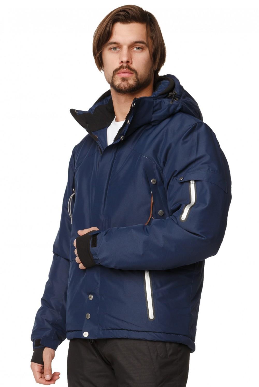 Купить оптом Костюм горнолыжный мужской темно-синего цвета 01788TS в Казани