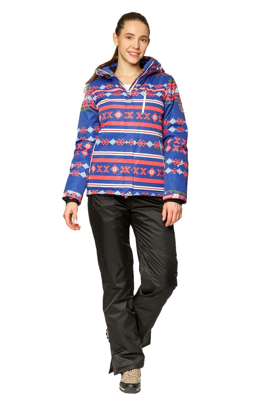 Купить оптом Костюм горнолыжный женский синего цвета 01795S в Екатеринбурге