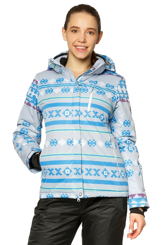 Купить оптом Куртка горнолыжная женская серого цвета 1795Sr в Казани