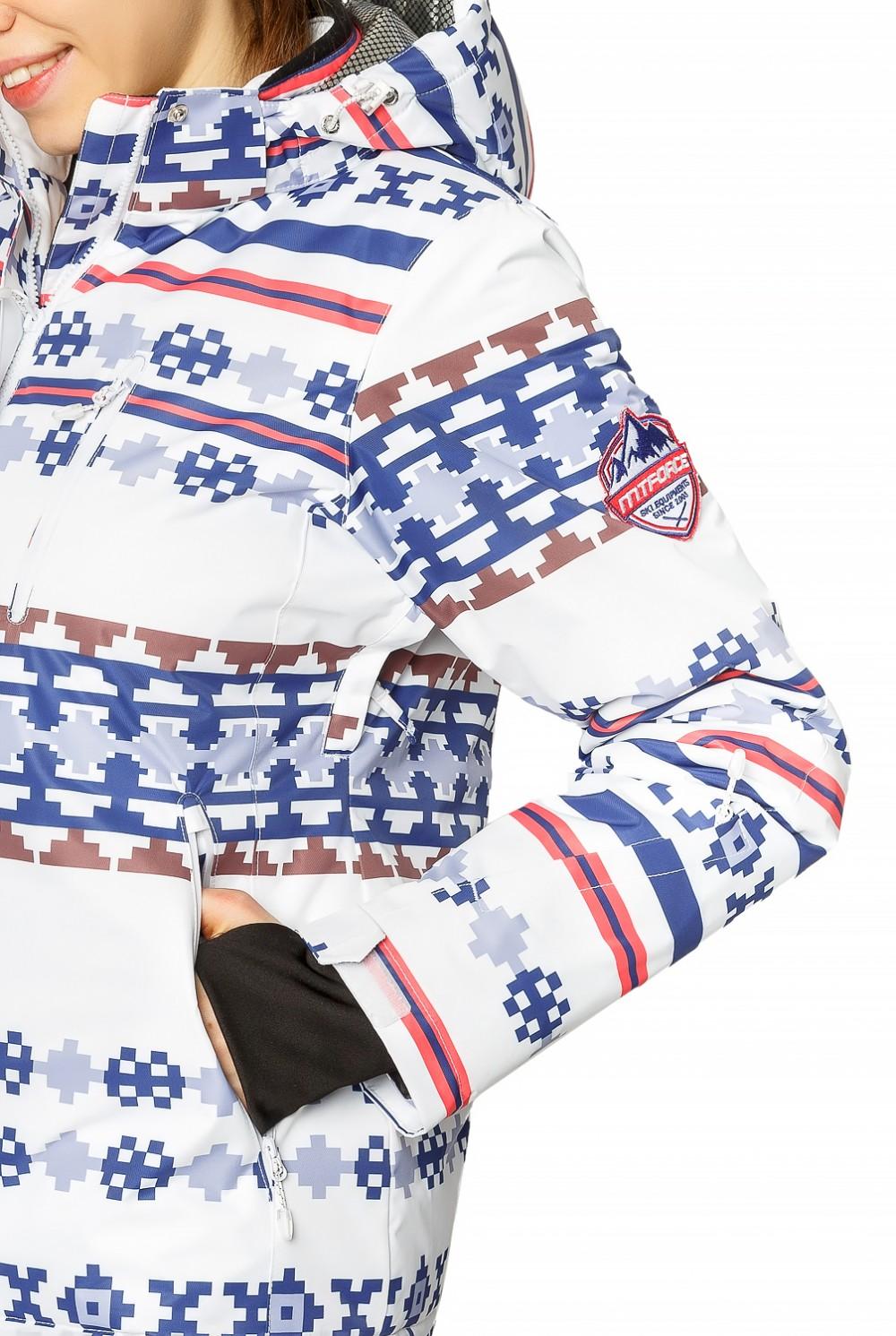 Купить оптом Костюм горнолыжный женский белого цвета 01795Bl в  Красноярске