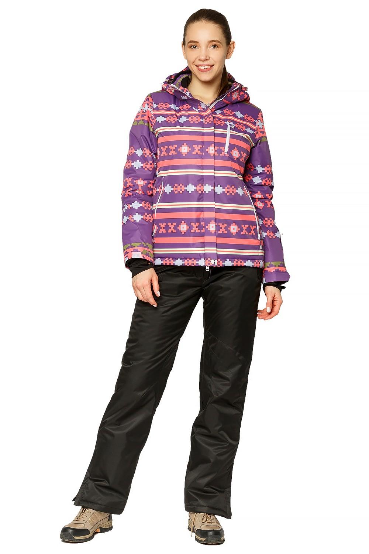 Купить оптом Костюм горнолыжный женский фиолетового цвета 01795F в Казани