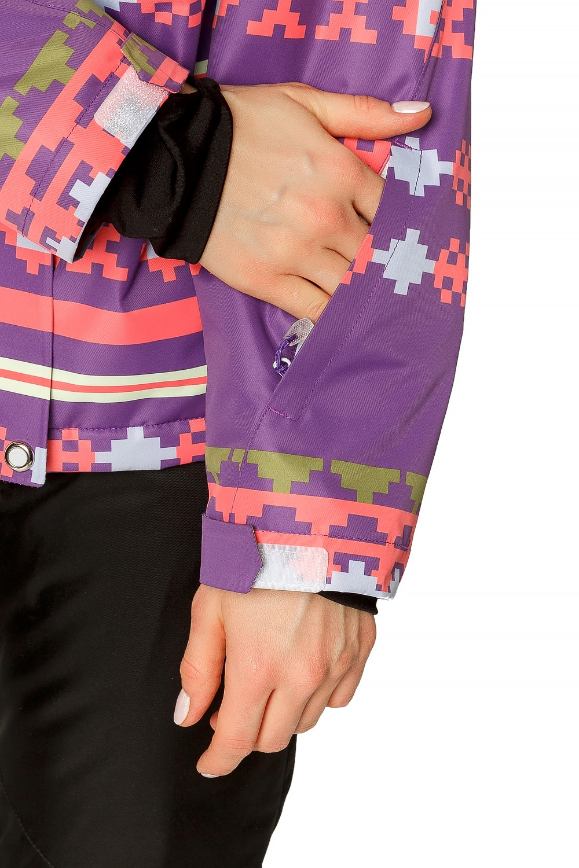 Купить оптом Куртка горнолыжная женская фиолетового цвета 1795F в Новосибирске