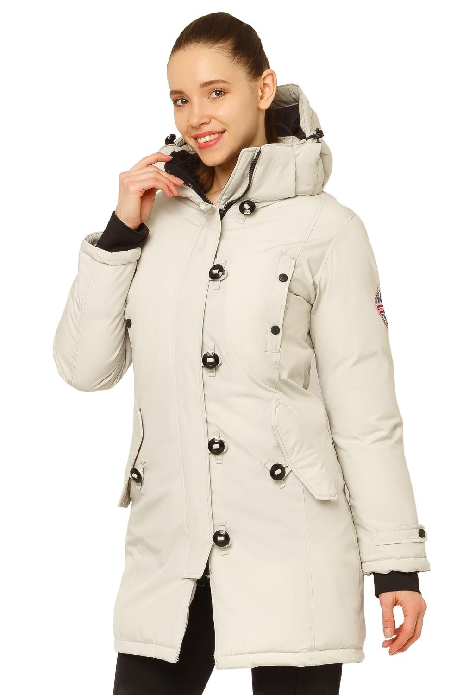 Купить оптом Куртка парка зимняя женская бежевого цвета 1802B в Уфе
