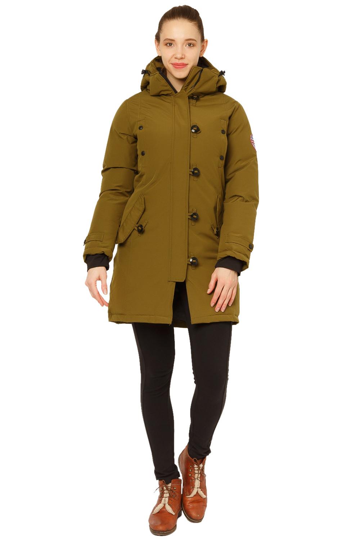 Купить оптом Куртка парка зимняя женская цвета хаки 1802Kh в Новосибирске