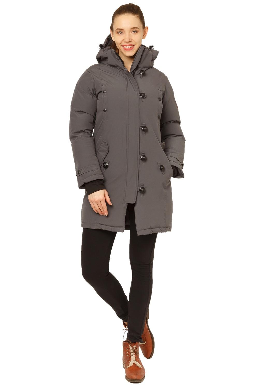 Купить                                      оптом Куртка парка зимняя женская темно-серого цвета 1802TC