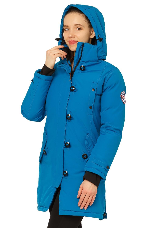 Купить оптом Куртка парка зимняя женская синего цвета 1802S в  Красноярске