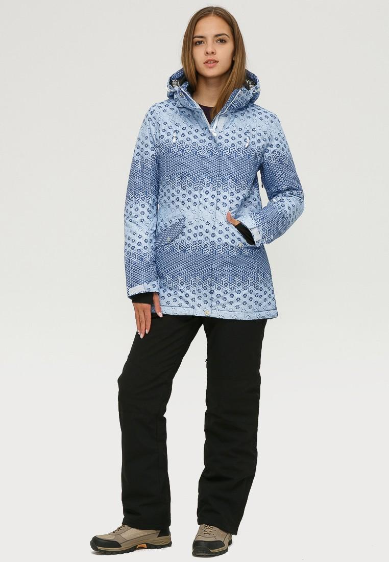 Купить оптом Костюм горнолыжный женский синего цвета 01803S