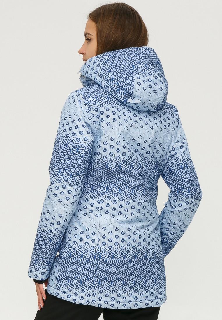 Купить оптом Куртка горнолыжная женская синего цвета 1810S в Новосибирске