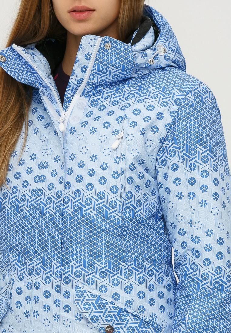 Купить оптом Куртка горнолыжная женская голубого цвета 1810Gl в Омске