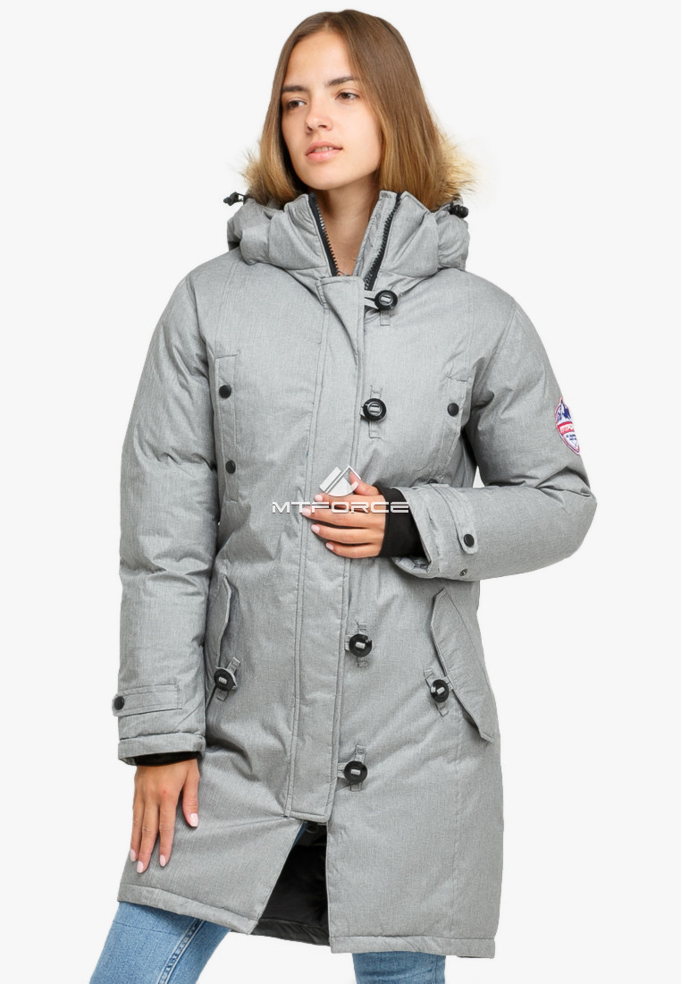 Купить оптом Куртка парка зимняя женская светло-серого цвета 1805SS