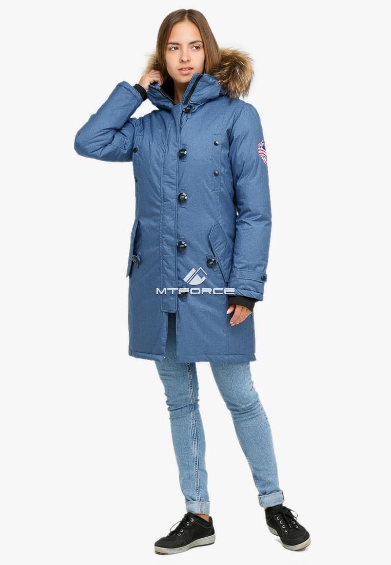 Купить оптом Куртка парка зимняя женская голубого цвета 1805Gl