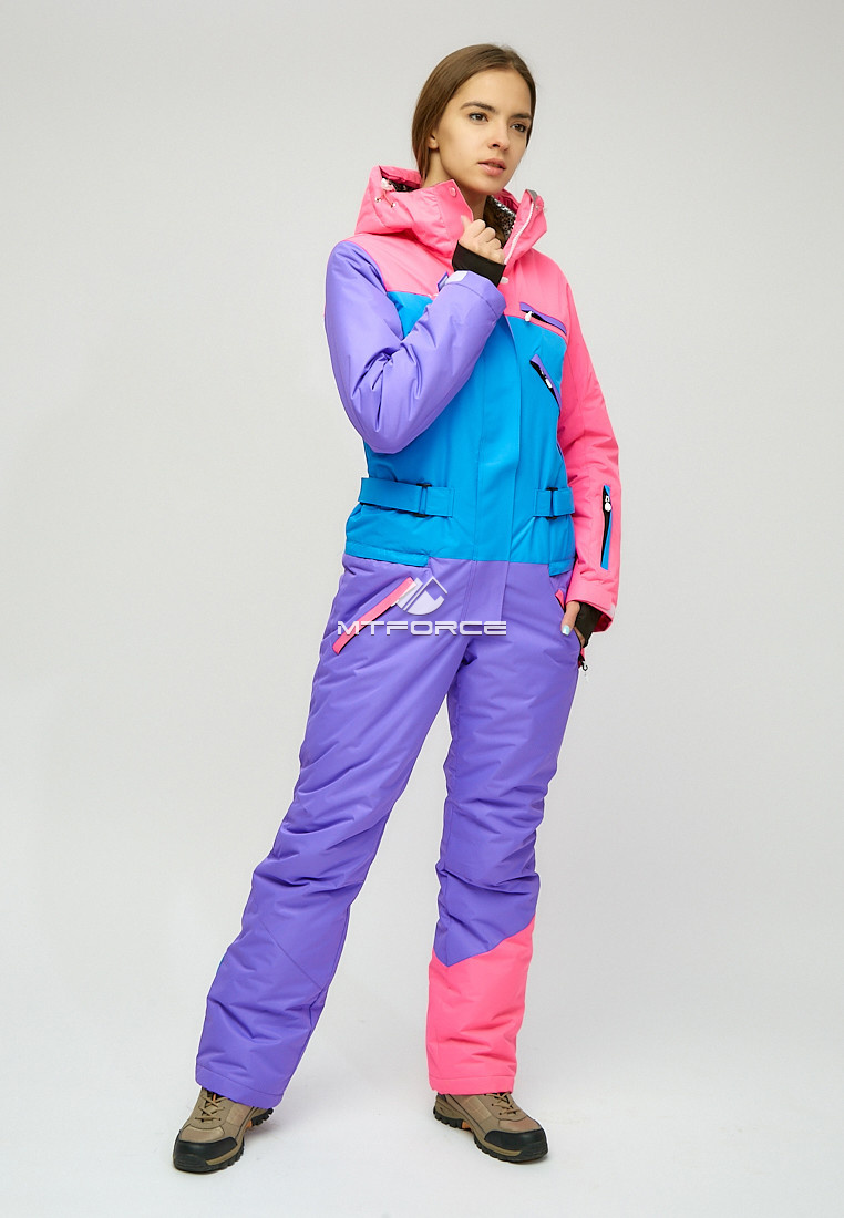 Купить оптом Женский зимний комбинезон фиолетового цвета 18066F