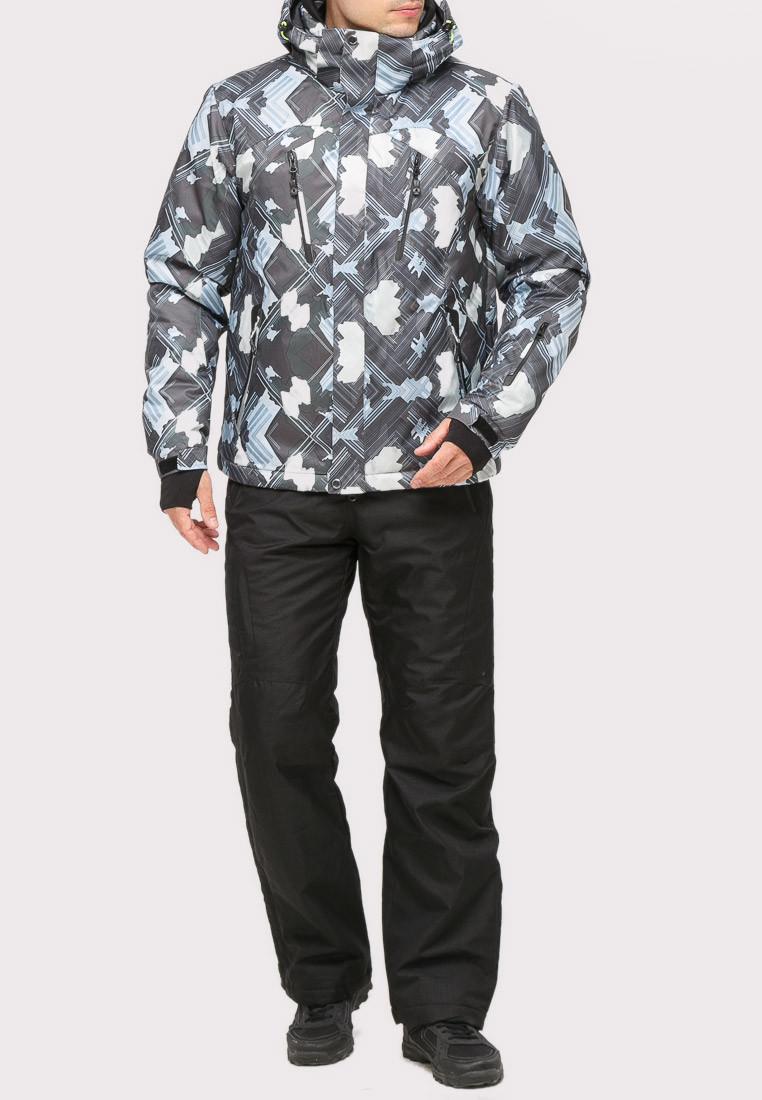 Купить оптом Костюм горнолыжный мужской серого цвета 018108Sr