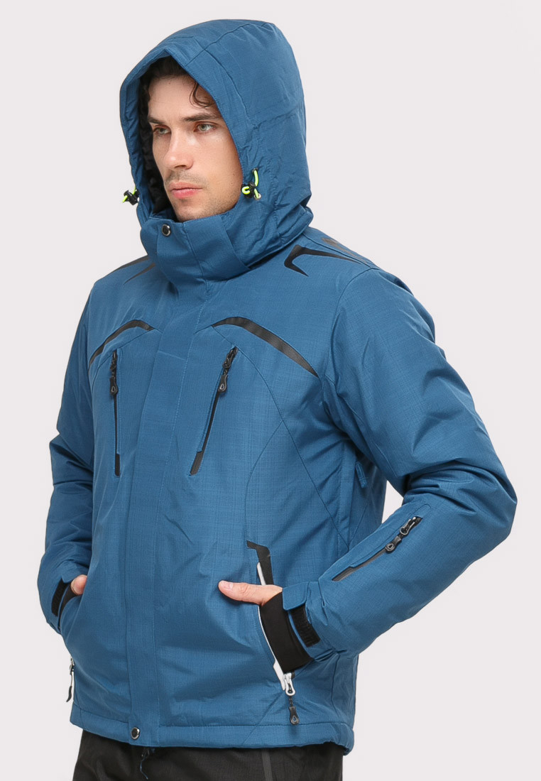 Купить оптом Костюм горнолыжный мужской голубого цвета 018109Gl в Омске