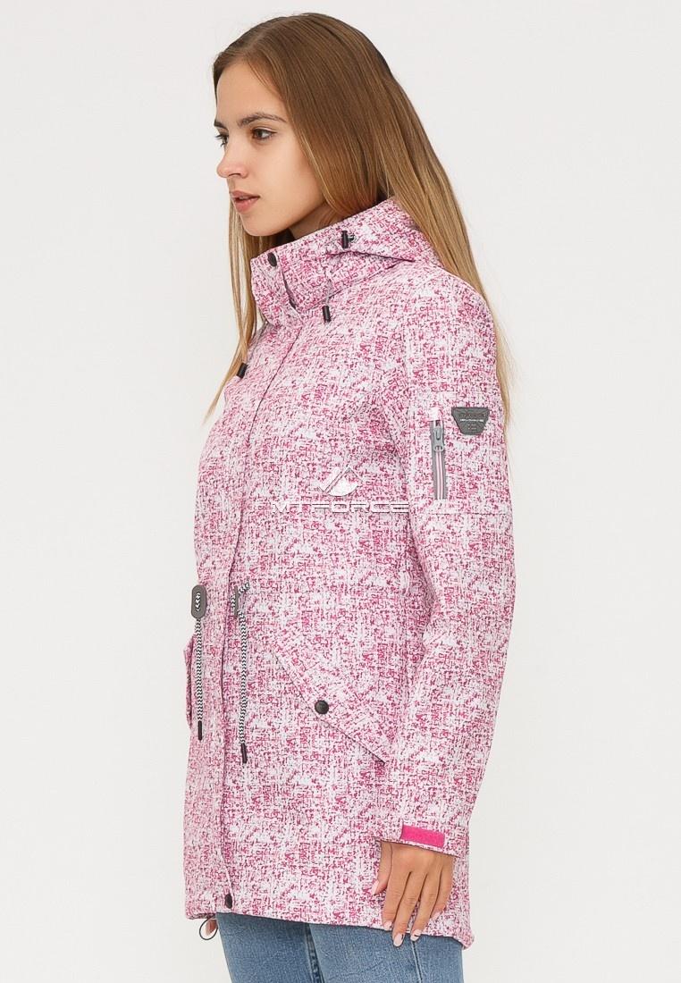Купить оптом Ветровка парка softshell женская осень весна розового цвета 18110R