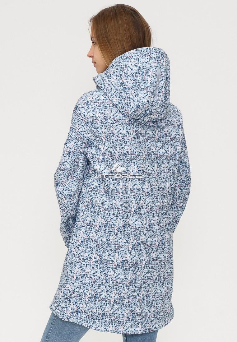 Купить оптом Ветровка парка softshell женская осень весна синего цвета 18110S