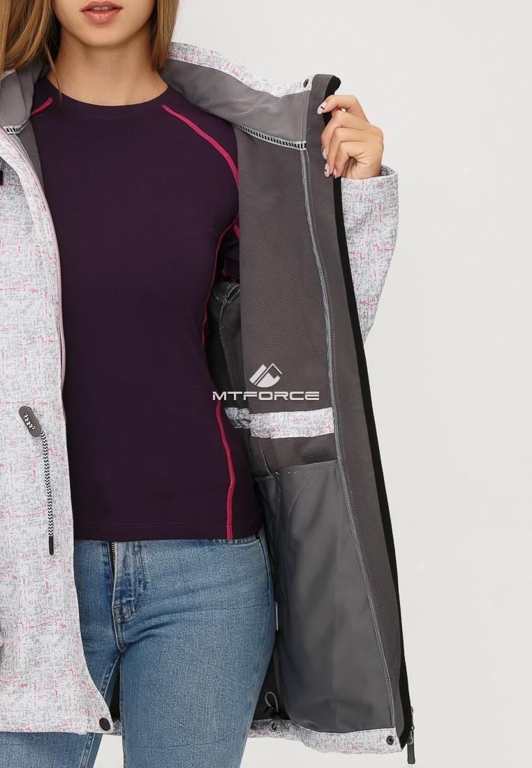 Купить оптом Ветровка парка softshell женская осень весна светло-серого цвета 18110SS