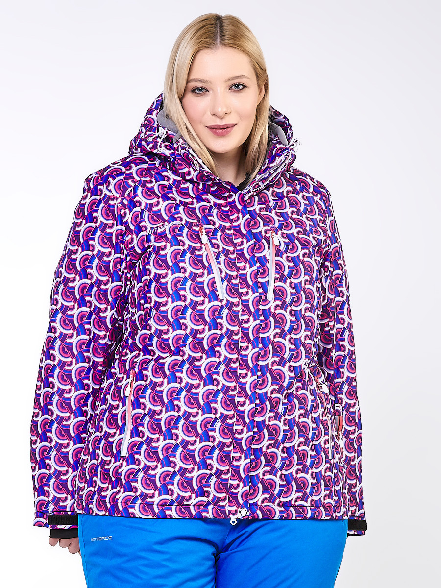 Купить оптом Куртка горнолыжная женская большого размера фиолетового цвета 18112F в  Красноярске