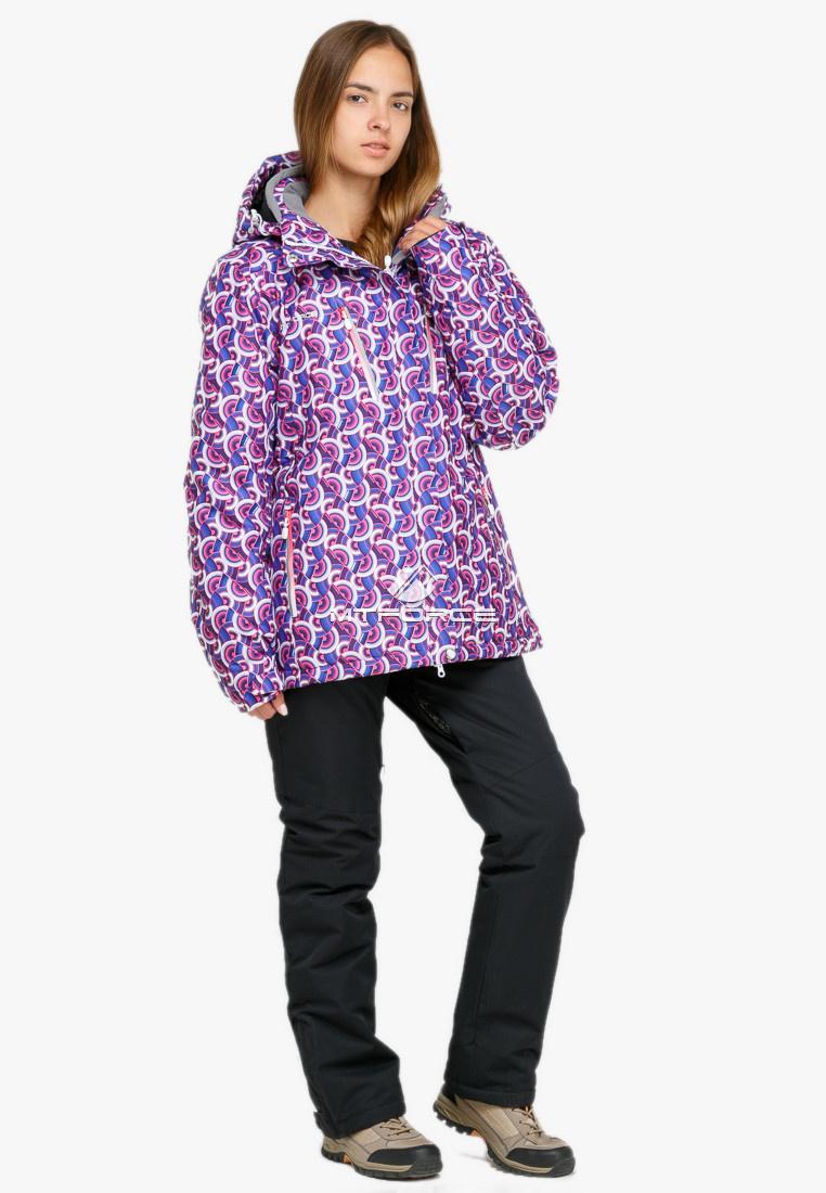 ad09f08c Купить оптом Костюм горнолыжный женский большого размера фиолетового цвета  018112F ...