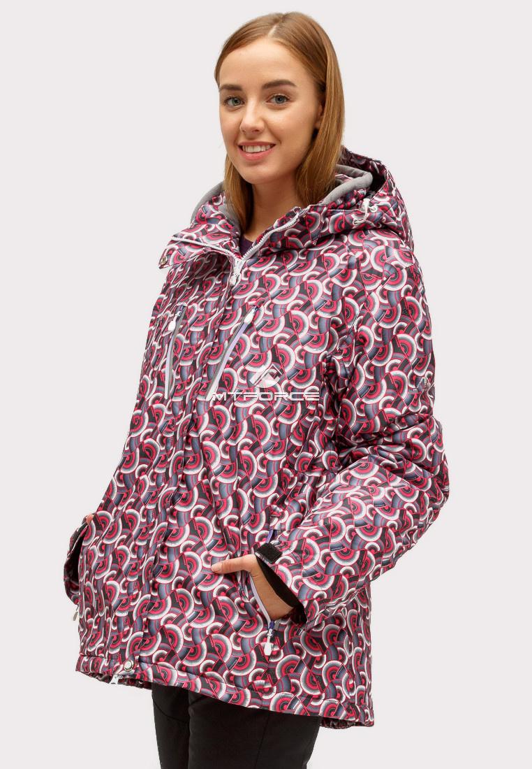 Купить оптом Куртка горнолыжная женская большого размера малинового цвета 18112M