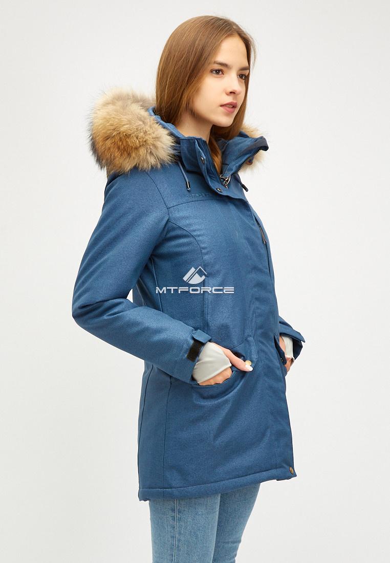 Купить оптом Женская зимняя парка голубого цвета 18113-1Gl
