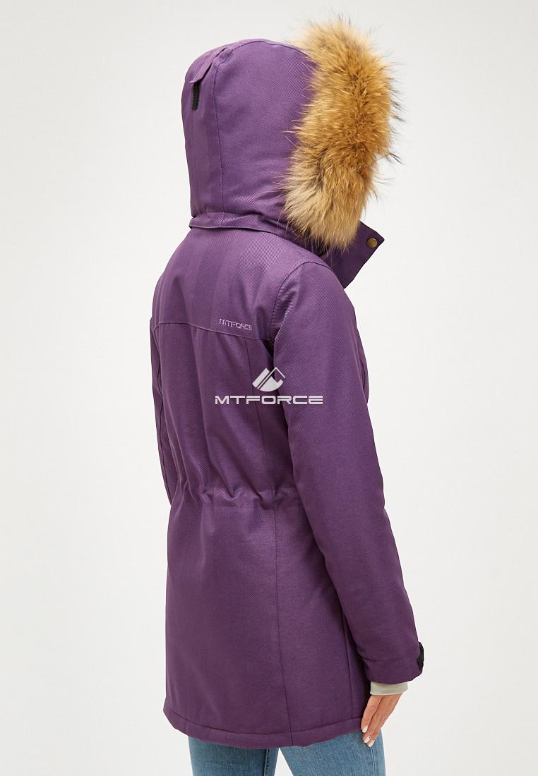 Купить оптом Женская зимняя парка фиолетового цвета 18113-1F