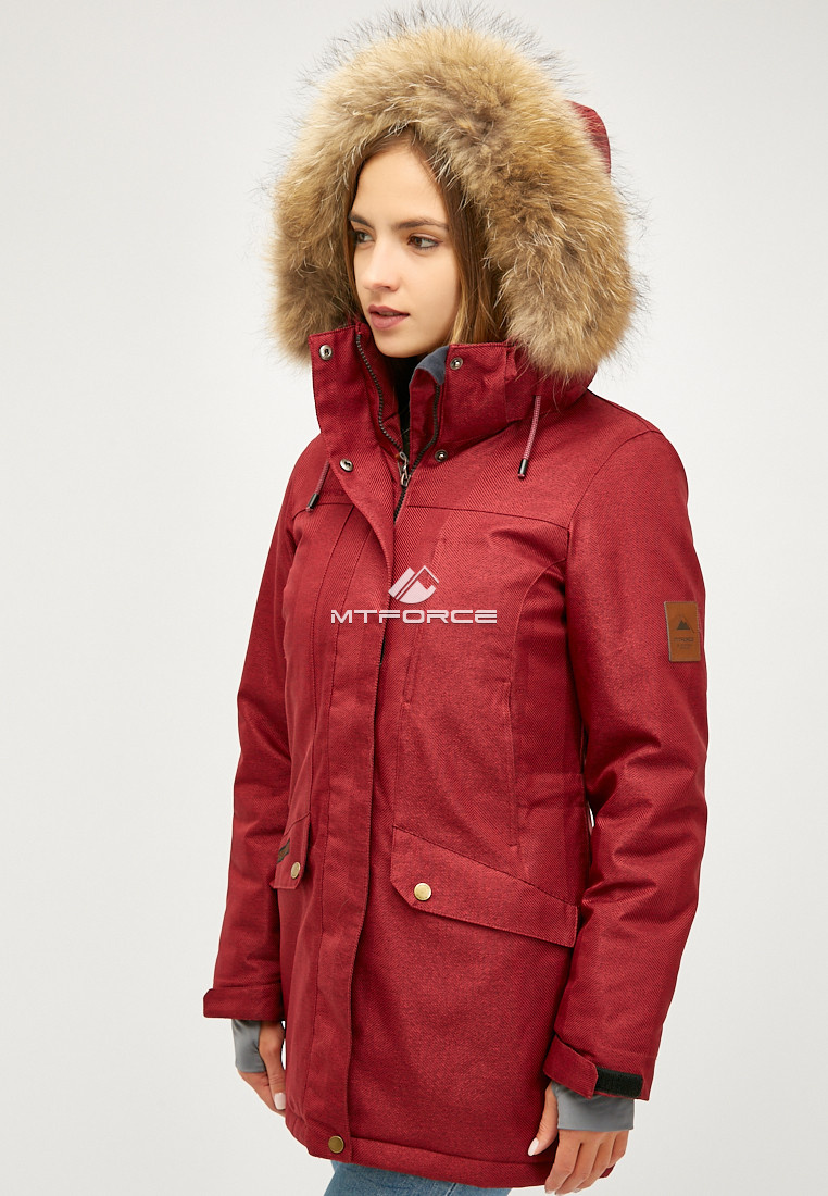 Купить оптом Женская зимняя парка бордового цвета 18113-1Bo