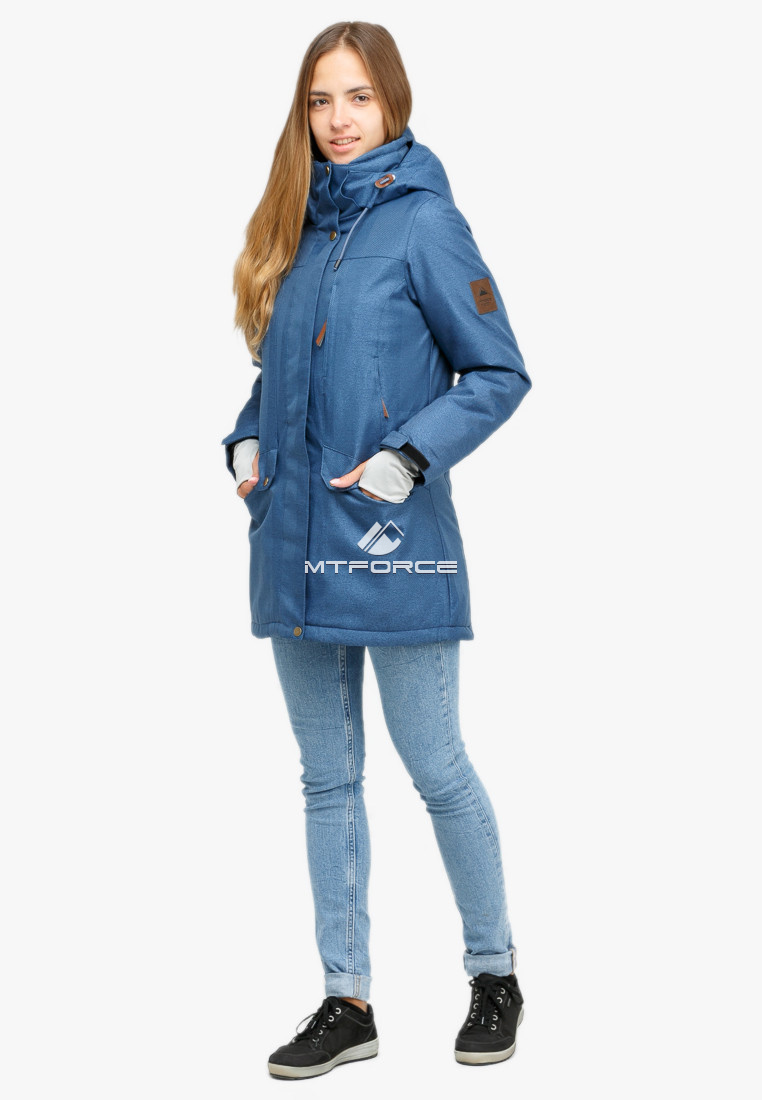 Купить оптом Куртка парка зимняя женская голубого цвета 18113Gl в Екатеринбурге