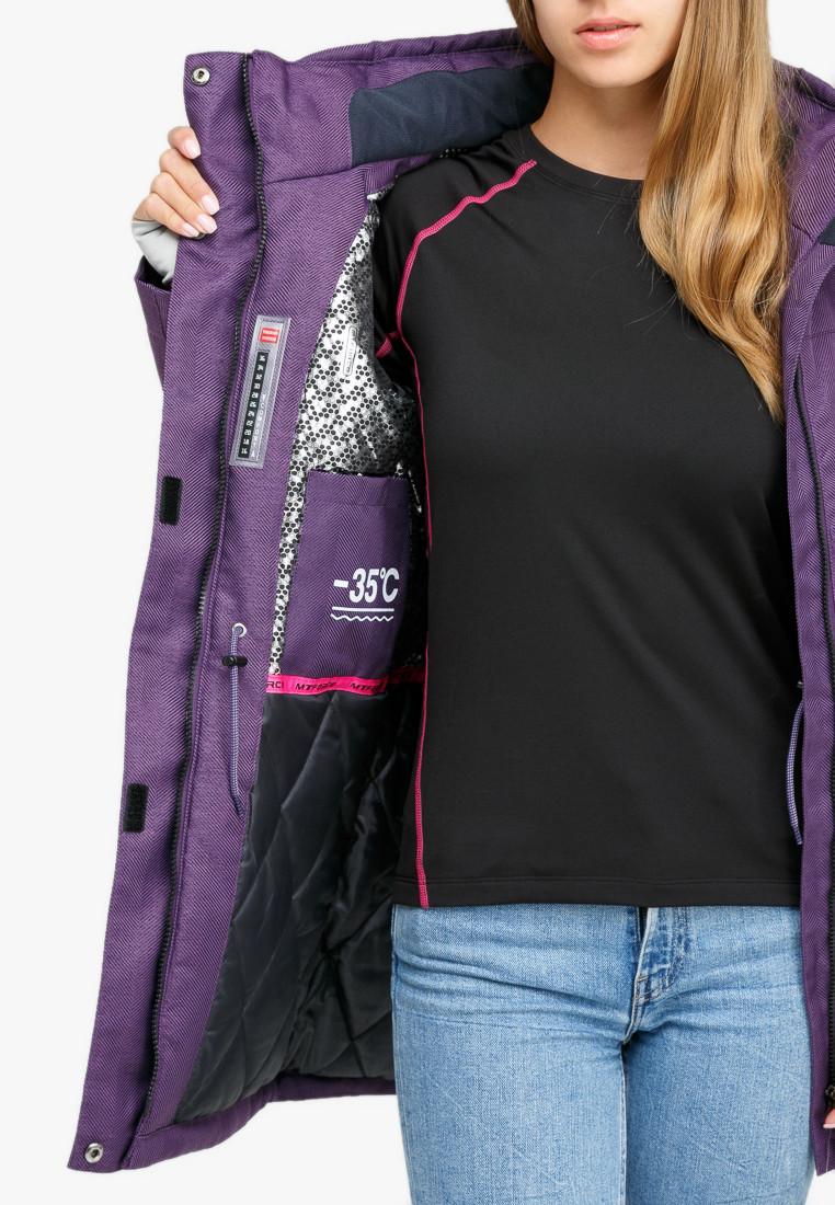 Купить оптом Куртка парка зимняя женская фиолетового цвета 18113F