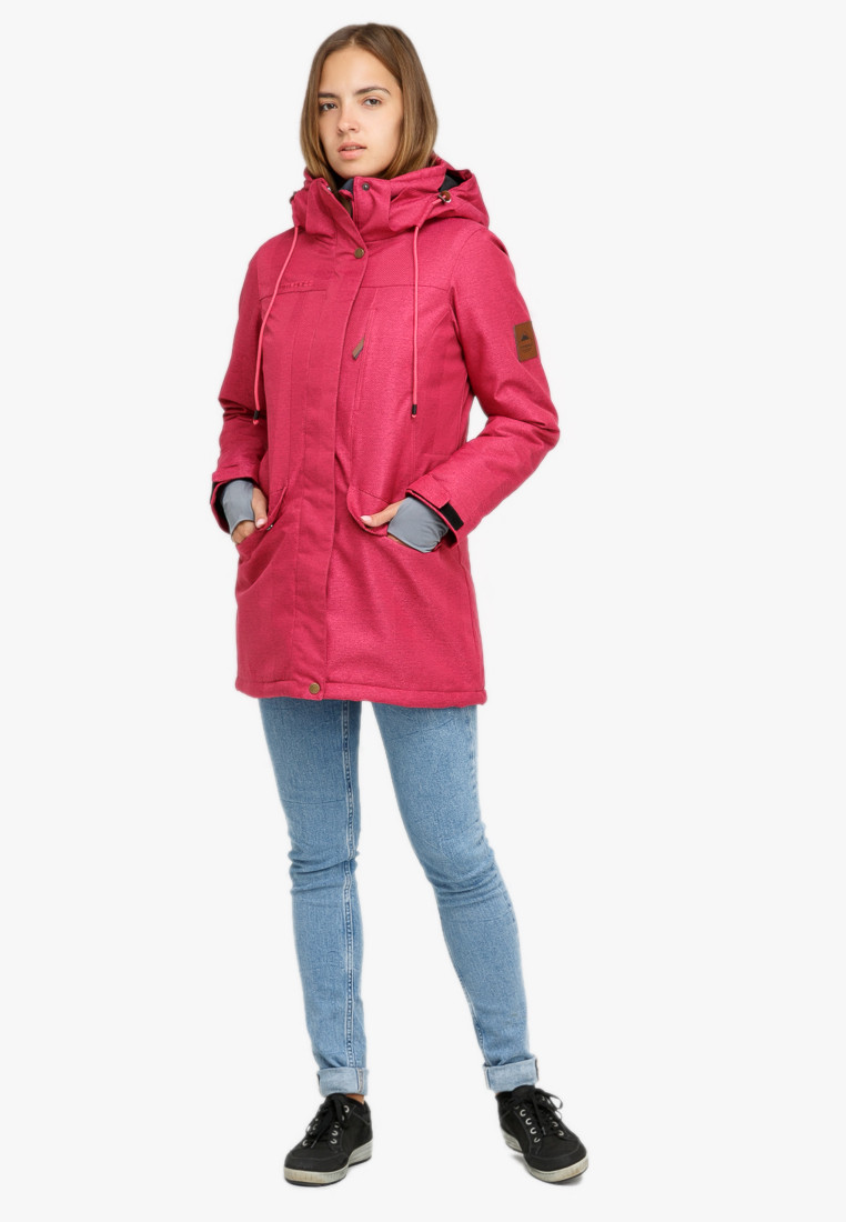Купить оптом Куртка парка зимняя женская малинового цвета 18113М в Екатеринбурге