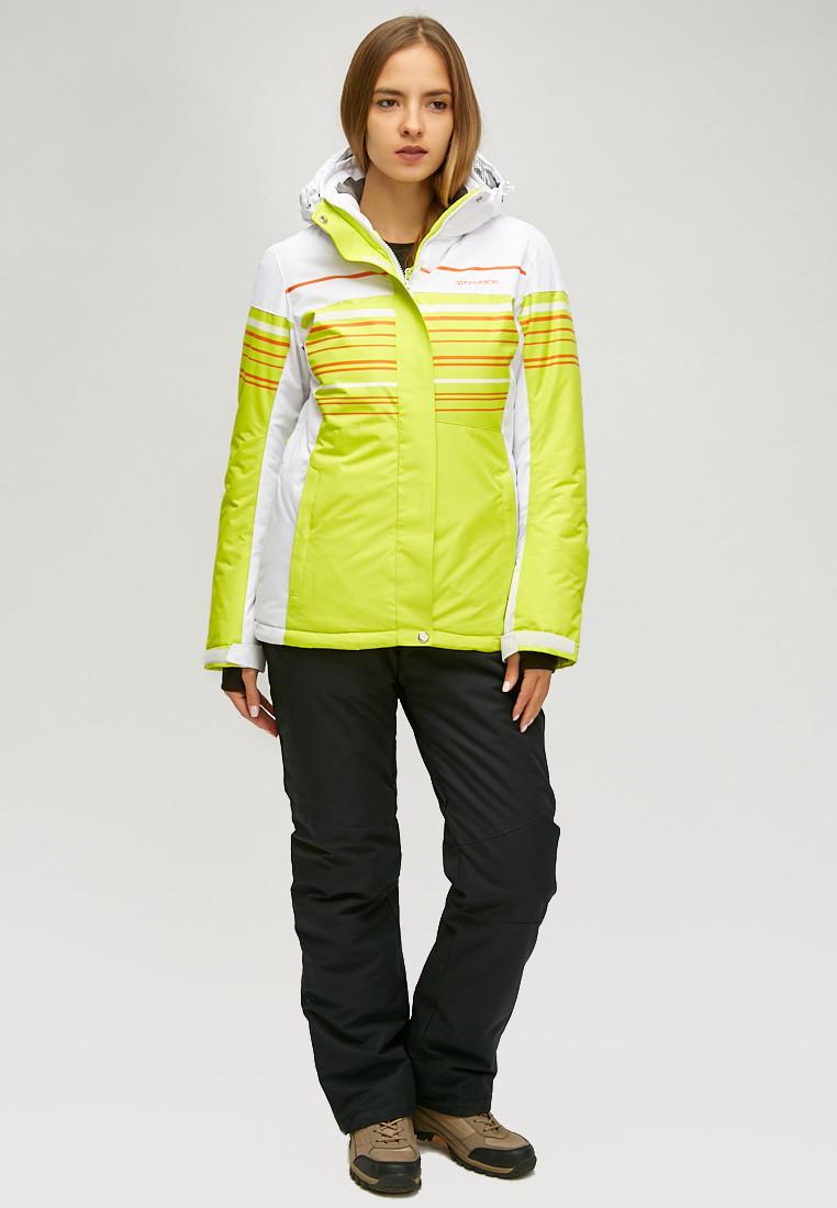 Купить оптом Женский зимний горнолыжный костюм салатового цвета 01856Sl в Нижнем Новгороде