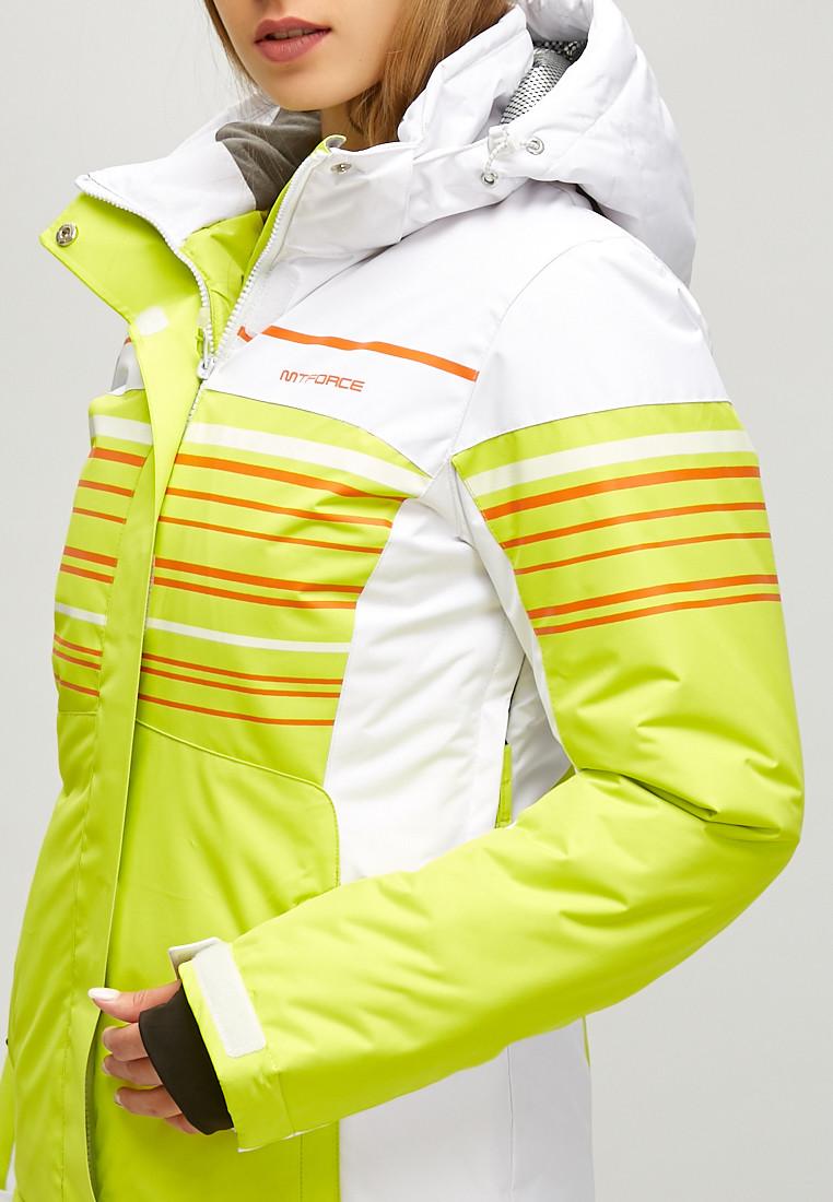 Купить оптом Женская зимняя горнолыжная куртка салатового цвета 1856Sl в Омске