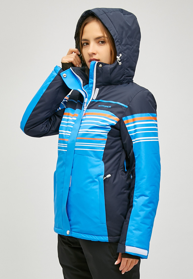 Купить оптом Женская зимняя горнолыжная куртка синего цвета 1856S