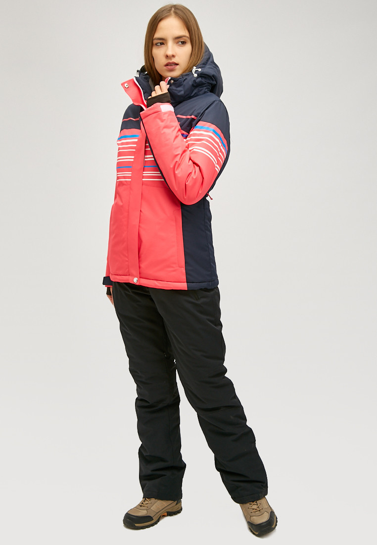 Купить оптом Женская зимняя горнолыжная куртка розового цвета 1856R