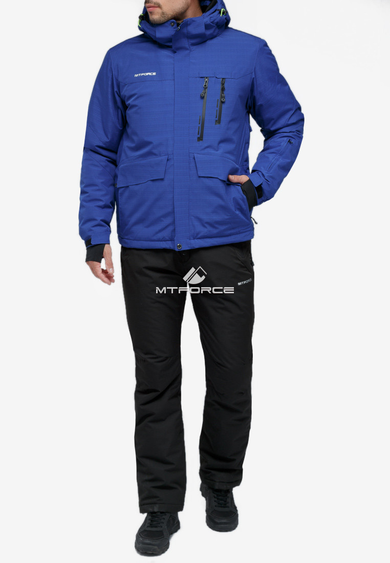 Купить оптом Костюм горнолыжный мужской синего цвета 018122S в Екатеринбурге