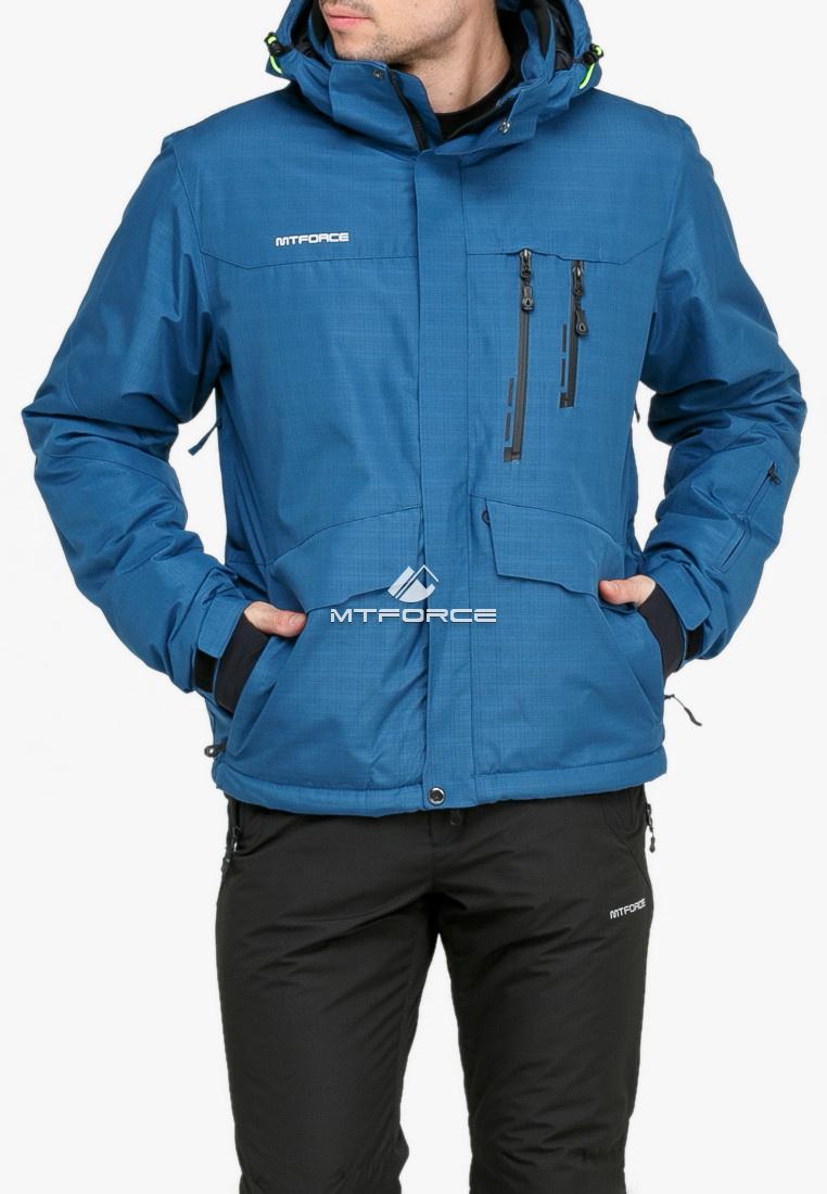 Купить оптом Куртка горнолыжная мужская голубого цвета 18122Gl в Нижнем Новгороде