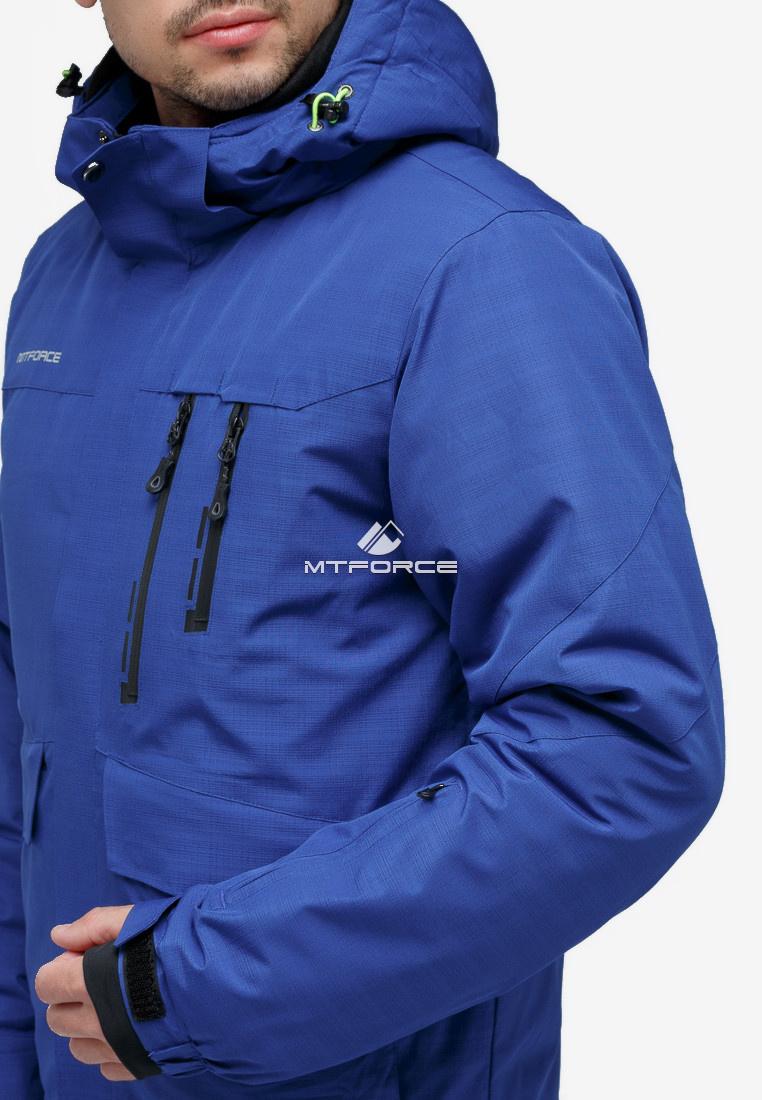 Купить оптом Костюм горнолыжный мужской синего цвета 018122S в Омске