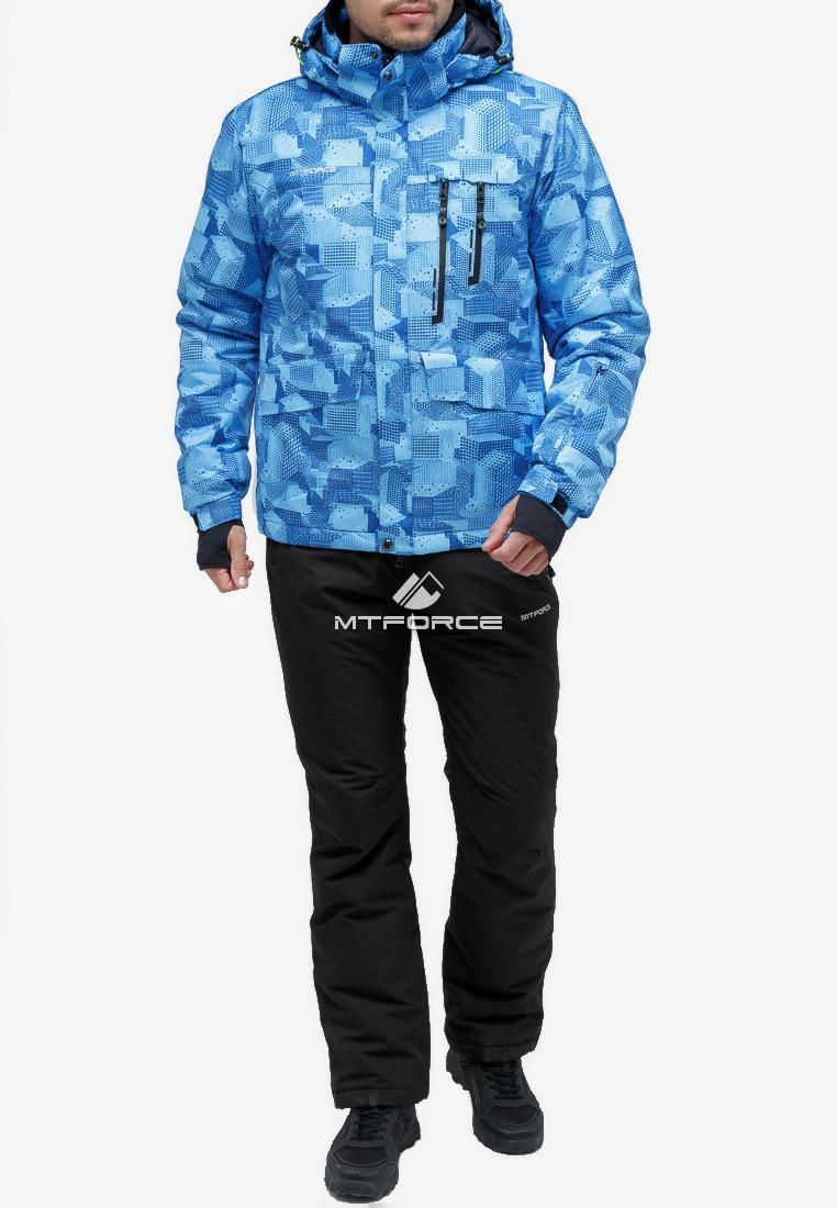 Купить оптом Костюм горнолыжный мужской синего цвета 018122-1S в Екатеринбурге