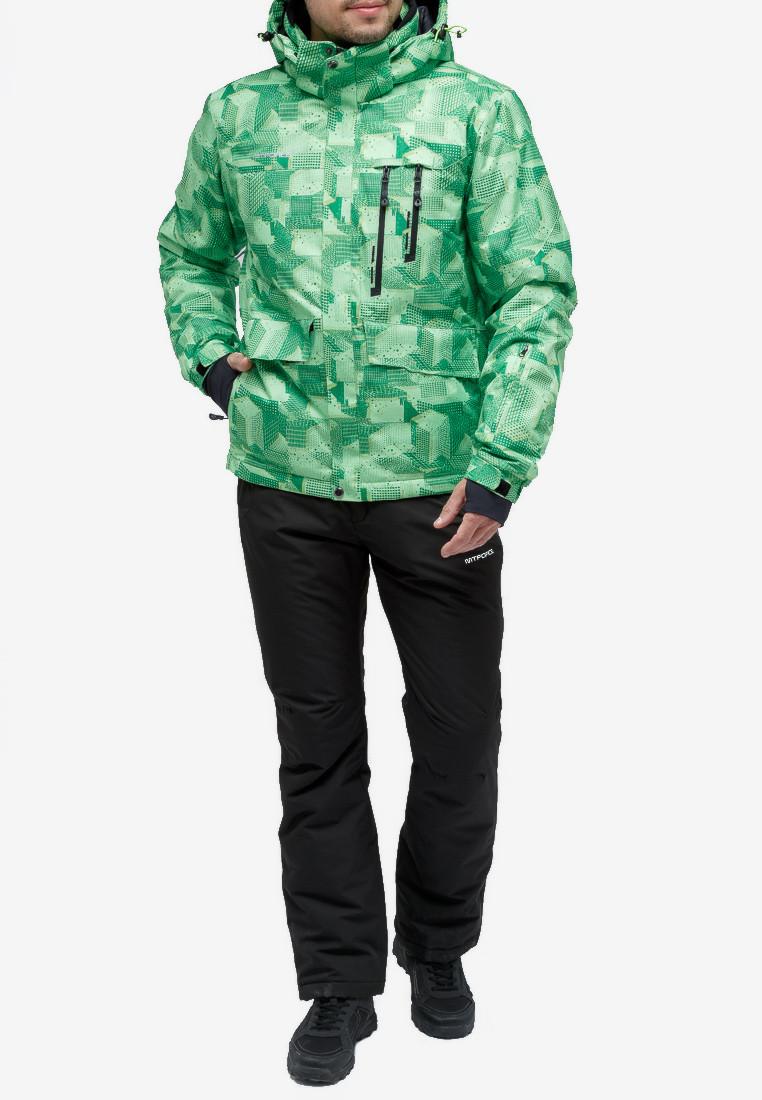 Купить оптом Костюм горнолыжный мужской зеленого цвета 018122-1Z в Казани
