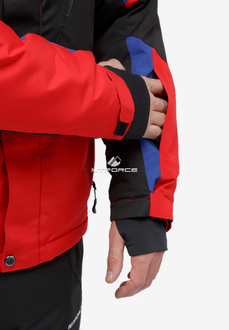 Купить оптом Костюм горнолыжный мужской красного цвета 018123Kr в Омске