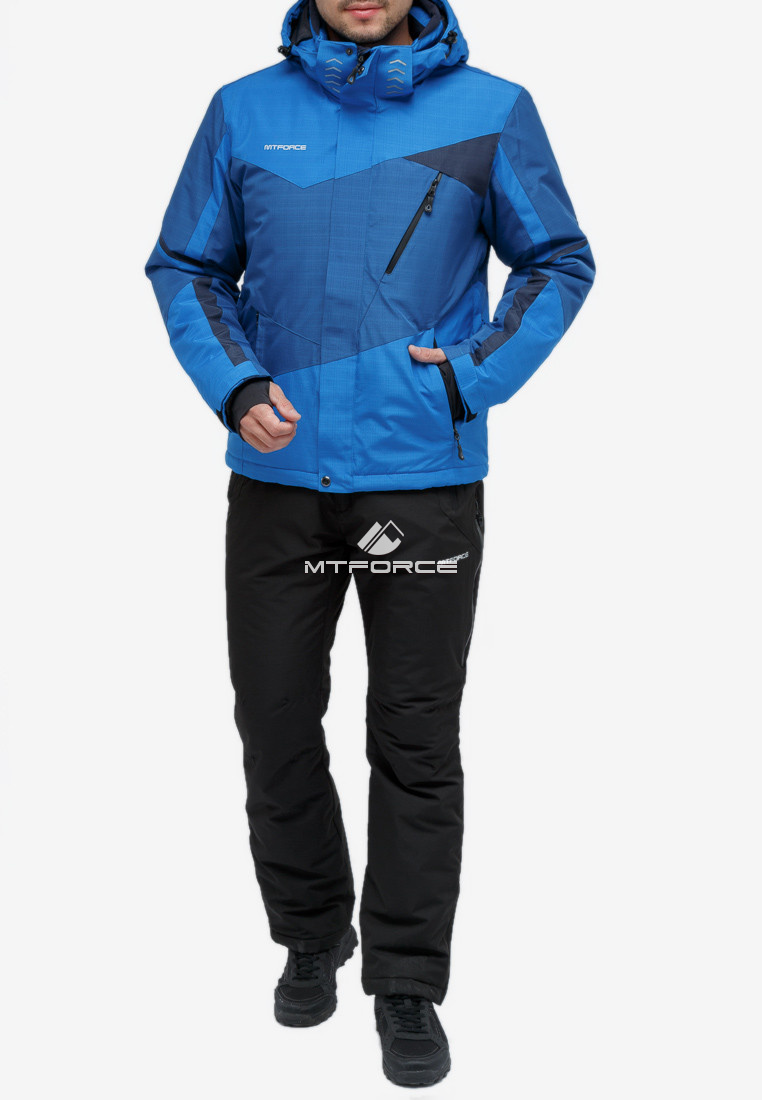 Купить оптом Костюм горнолыжный мужской синего цвета 018123S в Нижнем Новгороде